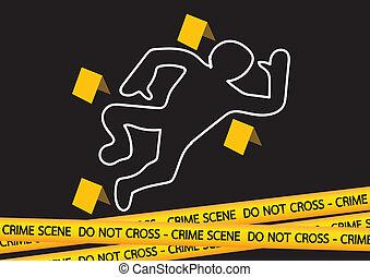 fitas, cena crime, ilustração, perigo