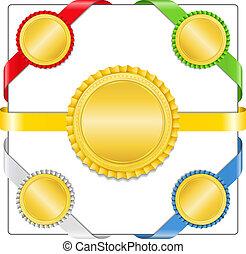 fitas, com, dourado, medalhas