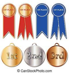 fitas, e, medalhas