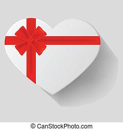 fitas, heart-shaped, vermelho, arco presente