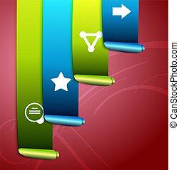 fitas, infographic, desenho, scroll, coloridos