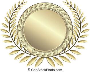 fitas, ouro, distinção