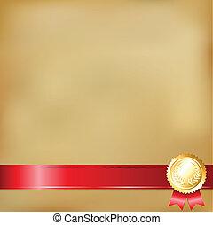 fitas, papel, antigas, distinção, ouro