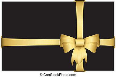 fitas, vetorial, presente, arco ouro