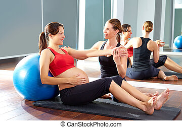 fitball, 女, pilates, 練習, 妊娠した