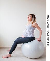 fitball, 思いやりがある, 女, 妊娠した