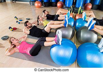 fitball, knirschen, training, gruppe, kern, fitness, an,...
