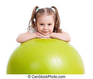fitball, menina, exercício aptidão, criança