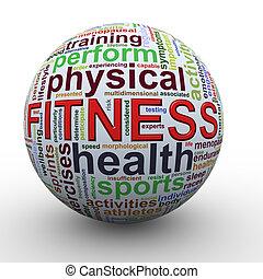 fitheid bal, woord, markeringen, worcloud