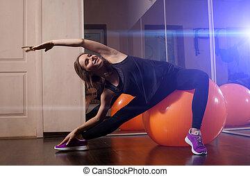 fitheid training, in, de, fitnessclub