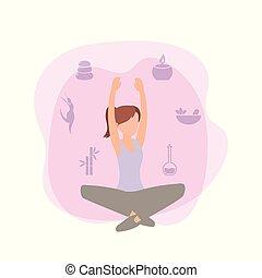 fitheid training, vrouw, oefening, activiteit