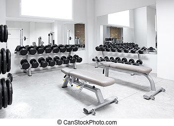 fitneßklub, gewichtstraining, ausrüstung, turnhalle