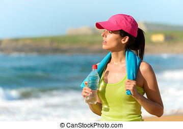 fitnes, 여자, 후에, 운동시키는 것