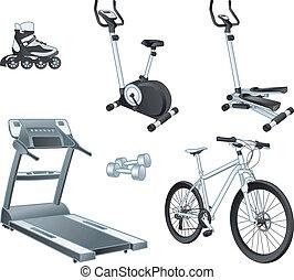 fitnes, desporto, -, exercício, dispositivos