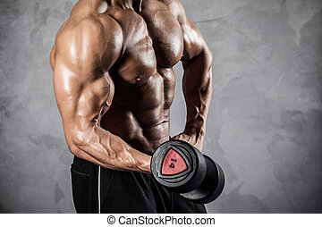 fitness, à, dumbbells
