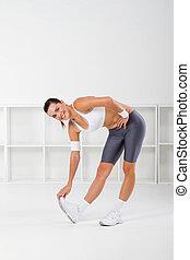fitness, étirage, femme