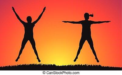 fitness, -, övning, utomhus