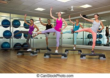 fitness, aérobic étape, classe