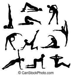 Fitness - Abstract vector illustration of fitness exercises ...