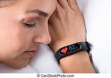 Fitness Activity Tracker On Woman's Hand - Fitness Activity...