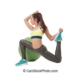 Fitness. Activity with ball. Cute girl training