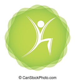 Fitness, aerobic icon - illustration with abstract...