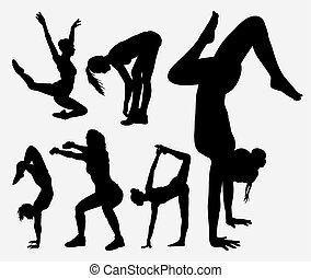 Fitness, aerobic sport silhouette