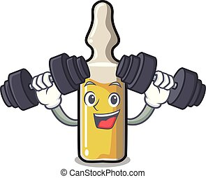 Fitness ampoule character cartoon style vector illustration