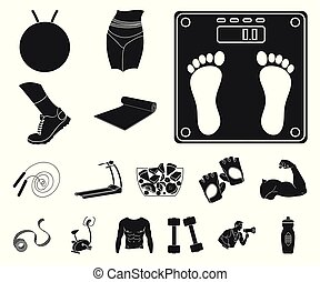 Fitness and attributes black icons in set collection for design. Fitness equipment vector symbol stock web illustration.