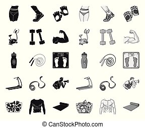Fitness and attributes black. mono icons in set collection for design. Fitness equipment vector symbol stock web illustration.