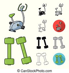 Fitness and attributes cartoon, black, flat, monochrome, outline icons in set collection for design. Fitness equipment vector symbol stock web illustration.