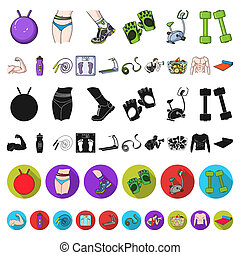 Fitness and attributes cartoon icons in set collection for design. Fitness equipment bitmap symbol stock web illustration.