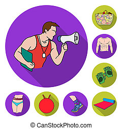 Fitness and attributes flat icons in set collection for design. Fitness equipment bitmap symbol stock web illustration.