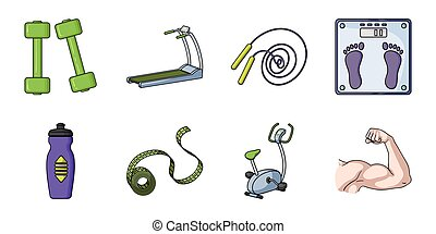 Fitness and attributes icons in set collection for design. Fitness equipment vector symbol stock web illustration.