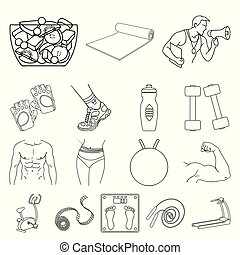 Fitness and attributes outline icons in set collection for design. Fitness equipment vector symbol stock web illustration.