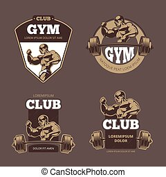 Fitness and bodybuilder sports retro emblems, labels, badges, logos