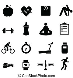 Fitness and diet icons - Fitness and diet icon set in black