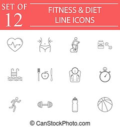 Fitness and diet line icon set, Healthy life