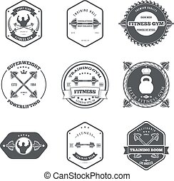 Fitness and Gym Themed Label Design Set Elements