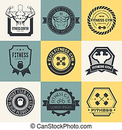 Set of different sports and fitness logo templates. Gym logotypes. Athletic labels and badges made in vector. Bodybuilder, fit man, athlet icon.