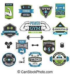 Fitness And Sport Labels - Set Of Colorful Fitness And Sport...
