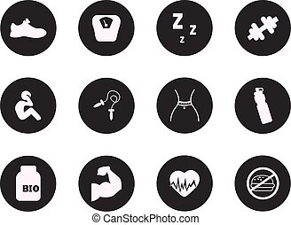 Fitness and Sport vector icons for web mobile. All elements are grouped.