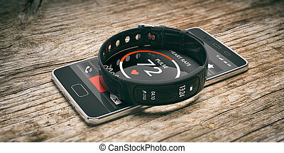 Fitness tracker, smart watch and mobile phone isolated on...