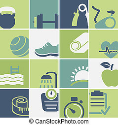 Fitness and wellness club icons set vector