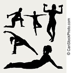 Fitness and yoga silhouette