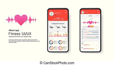 Fitness app. Ui ux design. UI KIT design concept with web...