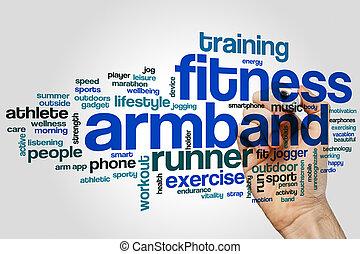 fitness, armbindel, ord, moln, begrepp, på, grå, bakgrund