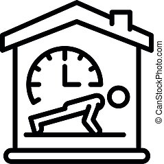 Fitness at home icon, outline style