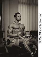 fitness, atlet, gör, tung, vikt, övning, för, baksida