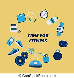 Fitness attributes for man and woman, different sport gadgets, sport wear and training gear. Flat Vector Illustration